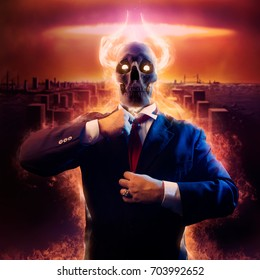 War politician. Politician man with fire horned skull head in black suit straightens a red tie on nuclear blast city background.
