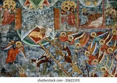 War scene fresco