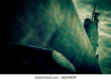 war submarine fight - blurred style photo