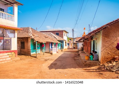 Waral, India - May 25, 2019 : Landscape of traditional indian and Maharashtrian village with houses