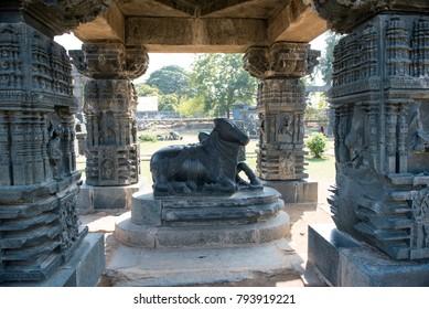 Warangal /India 28 December 2017 Stone carving Ruins within the main Warangal Fort complex of the Kakatiya dynasty at Telangana south Indian