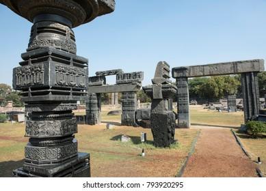 Warangal /India 28 December 2017 Stone carving on Pillar Ruins within the main Warangal Fort complex of the Kakatiya dynasty at Telangana south Indian