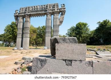 Warangal /India 28 December 2017 Kakatiya Kala Thoranam or Warangal Gate  is a historical arch in the Warangal Fort at Telangana south Indian