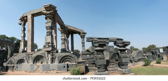 Warangal /India 28 December 2017 A panoramic view of The Main structure ruins in Warangal Fort of the Kakatiya dynasty at Telangana south Indian