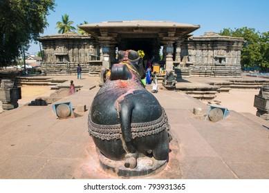 Warangal /India 28 December 2017 Statue of Nandi Bull in front of The Thousand Pillar Temple or Rudreshwara Swamy Temple at Warangal Telangana south Indian