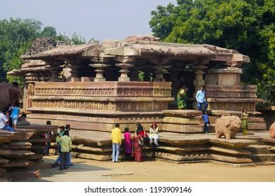 WARANGAL, TELANGANA, INDIA, December 2014, Tourist and devotees at Ramappa Temple, Palampet