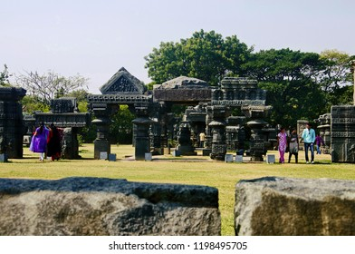 WARANGAL, TELANGANA, INDIA, December 2014, Tourist at Warangal fort temple comlpex