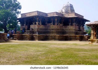 WARANGAL, TELANGANA, INDIA, December 2014, Tourist at Ramappa Temple, Palampet