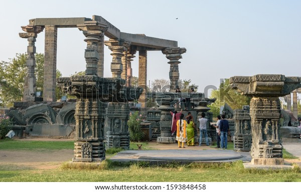 Warangal, Telangana, India - March 2019: The ruins of the ancient temples of the Kakatiya kingdom in the archaeological site of the Warangal Fort.