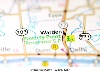 Warden. Louisiana. USA on a map
