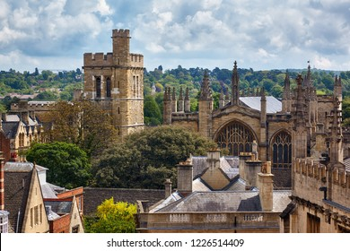 The Warden and Scholars of St Mary's College of Winchester. New college chapel and bell tower with the oldest rings of bells, as seen from the cupola of Sheldonian Theatre. Oxford University. England