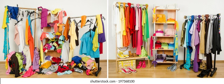 Wardrobe before messy after tidy arranged by colors. Untidy cluttered woman dressing with clothes and accessories vs. closet color coordinated on hangers and shelf.