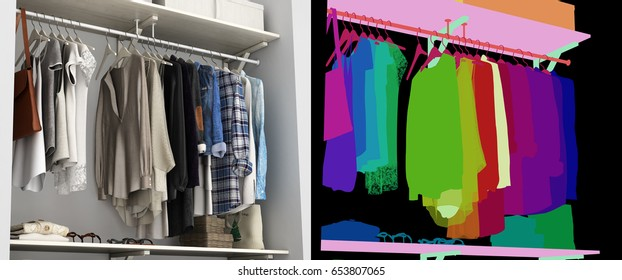 Wardrobe built-in wall with clothes 3d render with alpha color map