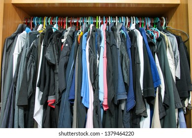Wardrobe with full clothes