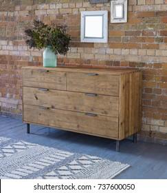 Wardrobe interior room. Wooden drawers sideboard
