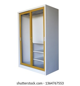 Wardrobe of a new empty house, dressing room on white background.