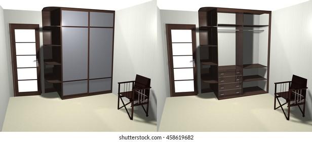 wardrobe with sliding doors 3D rendering, inner filling