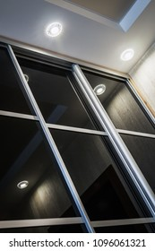 Wardrobe with sliding doors in the house. modern materials and furniture for interior