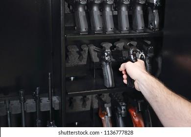 Wardrobe for weapons. safe storage of guns.