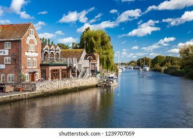 WAREHAM, DORSET ENGLAND - Sept 23rd 2018: The River Frome at Wareham Dorset a popular tourist attraction.