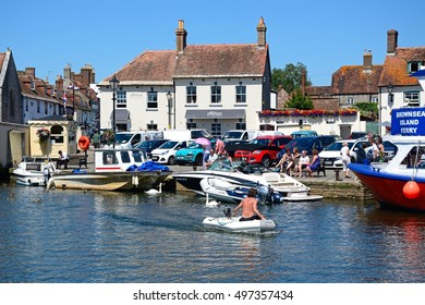 WAREHAM, UNITED KINGDOM - JULY 19, 2016 - Boats on the river with views towards the town, Wareham, Dorset, England, UK, Western Europe, July 19, 2016.