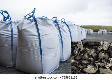 Warehouse big bags with coal. The outdoor warehouse.