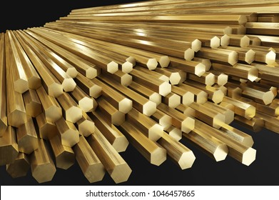 Warehouse of brass rods, rolled metal products.  3D illustration