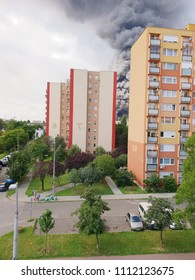 Warehouse was burned with huge, raging column of smoke at June 13, 2018 in Budapest, Hungary.