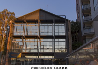 Warehouse condominium building in Pyrmont, Sydney, Australia. Luxury apartments in an old industrial building