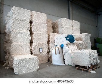 Warehouse with cotton bales in a Italian textile industry