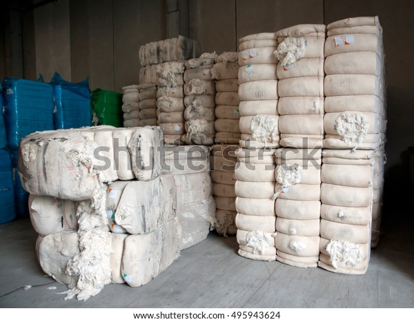 Warehouse Cotton Bales Italian Textile Industry Stock Photo