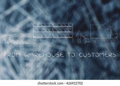 from warehouse to customers: product passing from factory production line to company's warehouse to shipping truck