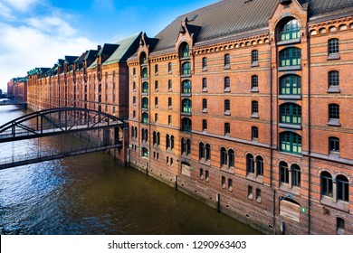 The Warehouse District in Hamburg, Germany. The largest warehouse district in the world is located in the port of Hamburg within the HafenCity quarter.