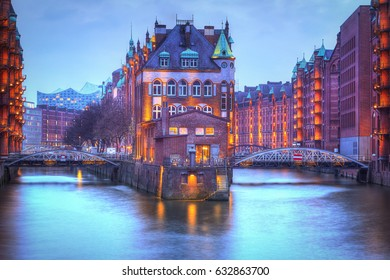 Warehouse district of Hamburg at night. Speicherstadt