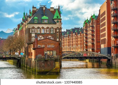 The Warehouse district Speicherstadt during spring in Hamburg, Germany. Warehouses in Hafencity quarter in Hamburg.