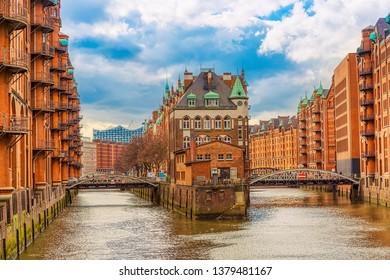 The Warehouse district Speicherstadt during spring in Hamburg, Germany. Warehouses in Hafencity quarter in Hamburg.