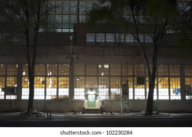 Warehouse door at night