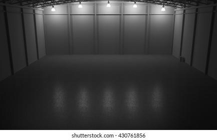 Warehouse empty dark car showroom 3D rendering