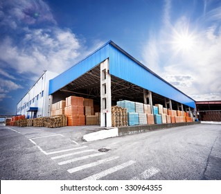Warehouse with finished products under the canopy