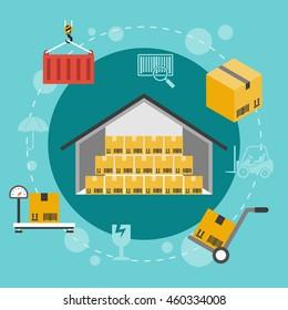 Warehouse flat illustration. Set of storage flat icons