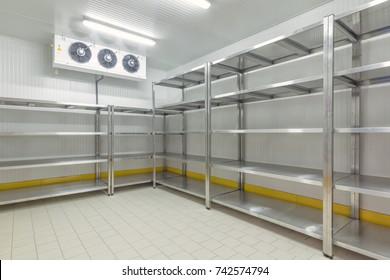 Warehouse freezer. Refrigeration chamber for food storage.
