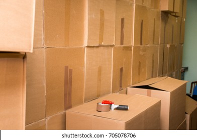 Warehouse with inaccurately stored cardboard boxes