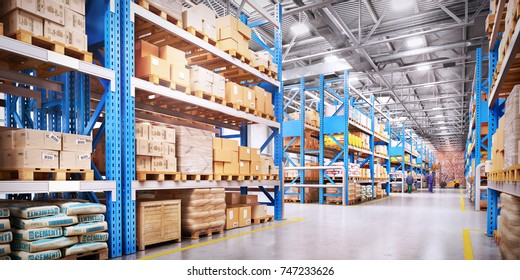 warehouse interior, 3d illustration