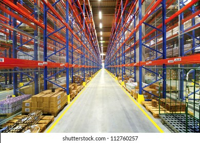 warehouse interior with colorful shelving System