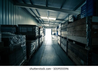 warehouse interior in dark blue colors