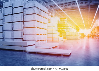 Warehouse interior. Large modern factory with box ware house