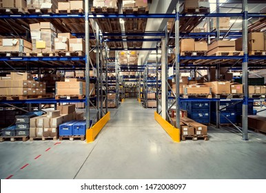 warehouse interior in logistic center - Shutterstock ID 1472008097
