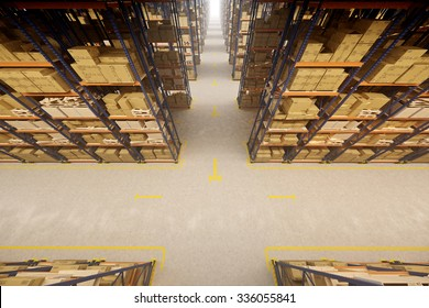Warehouse interior with racks and crates