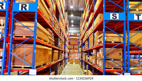 Warehouse of a large- scale in factory.