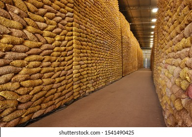 warehouse with large stock of peanut bags